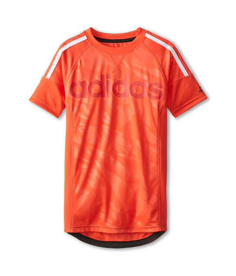 adidas Kids - Linear 3 Stripe Short Sleeve (Big Kids) (Bright Red/Black) Boy's Short Sleeve Pullover