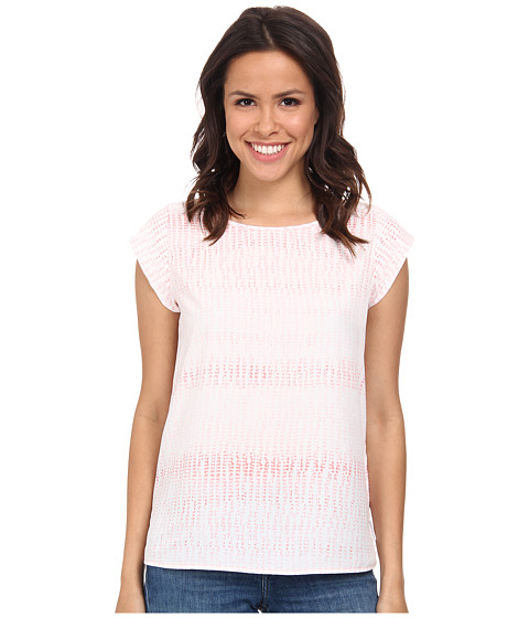 Calvin Klein Jeans - Speckled Printed Woven Tee (Whitened Coral) Women's T Shirt