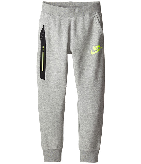 Nike Kids - Tech Fleece Pants (Little Kids/Big Kids) (Dark Grey Heather/Volt/Volt) Boy