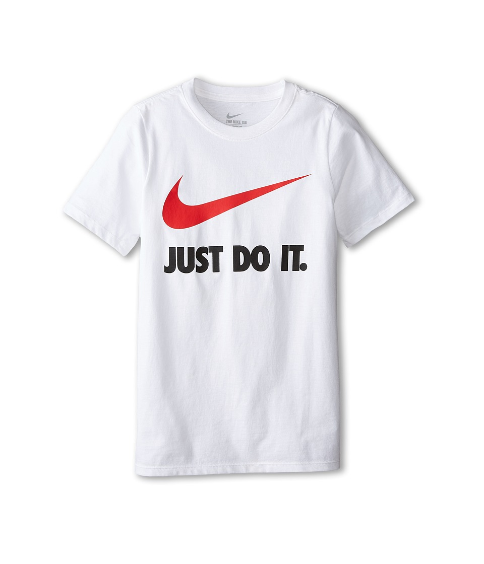 Nike Kids - JDI Swoosh Tee (Little Kids/Big Kids) (White/White/University Red) Boy's T Shirt