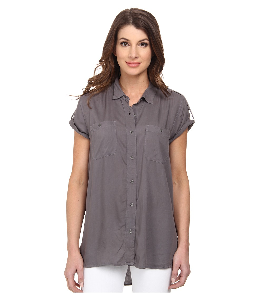 Calvin Klein Jeans - Cap Sleeve Utility Shirt (Nickel Grey) Women's Short Sleeve Button Up
