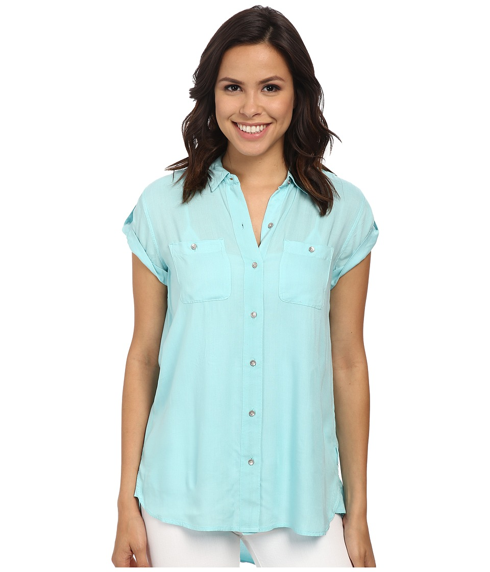 Calvin Klein Jeans - Cap Sleeve Utility Shirt (Light Opal) Women's Short Sleeve Button Up