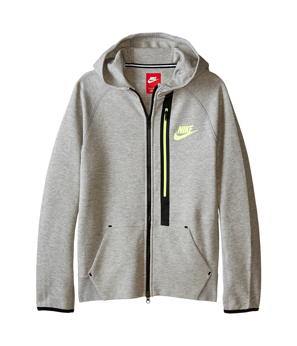 Nike Kids - Tech Fleece FZ Hoodie (Little Kids/Big Kids) (Dark Grey Heather/Volt/Volt) Boy's Sweatshirt