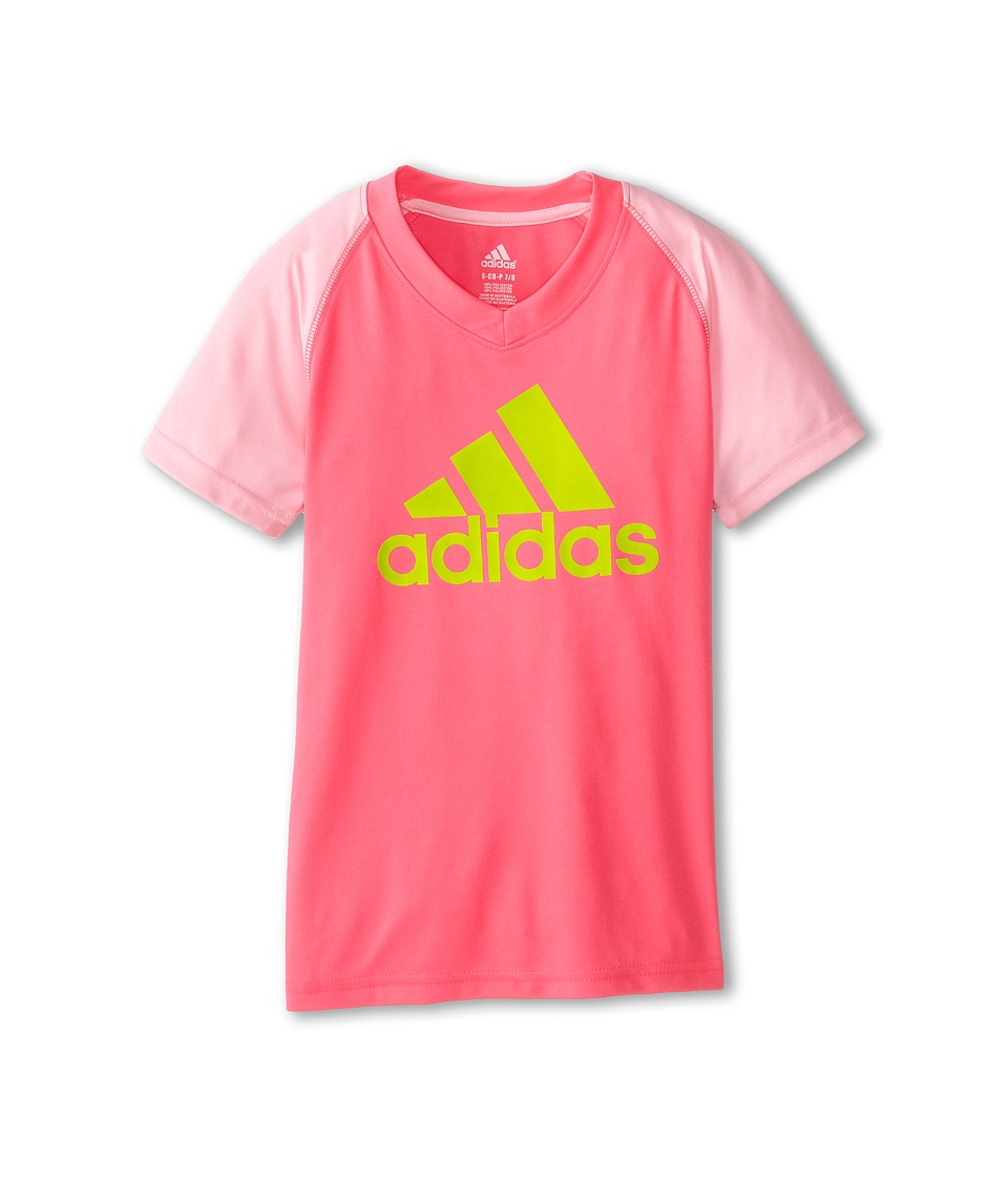 adidas Kids - CLIMALITE S/S Color Block Raglan (Big Kids) (Solar Pink/Light Pink) Girl's T Shirt