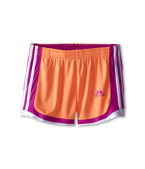 adidas Kids - P.E. Short (Little Kids/Big Kids) (Flash Orange/Flash Pink) Girl's Shorts
