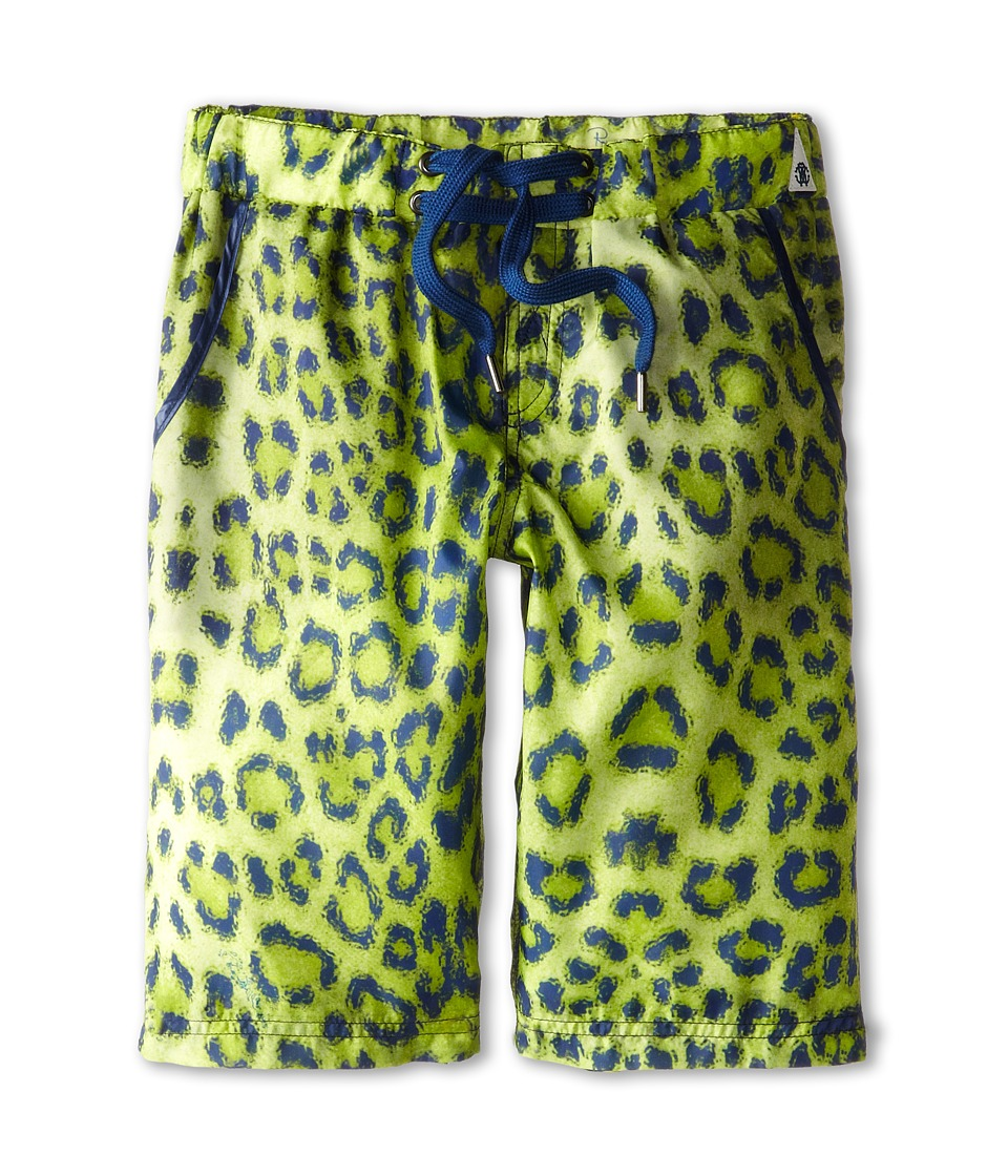 Roberto Cavalli Kids - Leopard Print Bermuda Swim Shorts (Big Kids) (Green) Boy