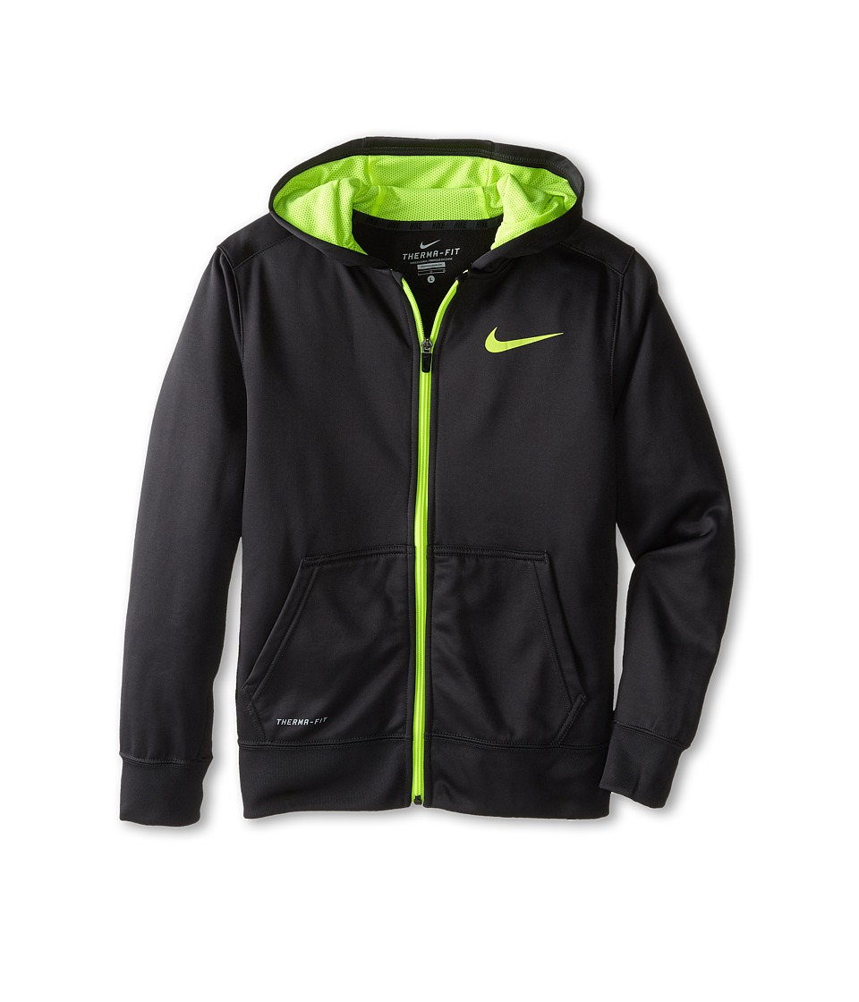 Nike Kids - KO 3.0 FZ Hoodie (Little Kids/Big Kids) (Anthracite/Volt/Volt) Boy's Sweatshirt