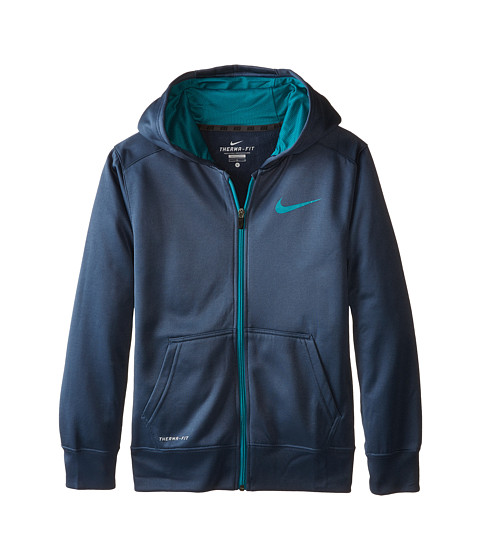 Nike Kids - KO 3.0 FZ Hoodie (Little Kids/Big Kids) (Squadron Blue/Radiant Emerald) Boy's Sweatshirt