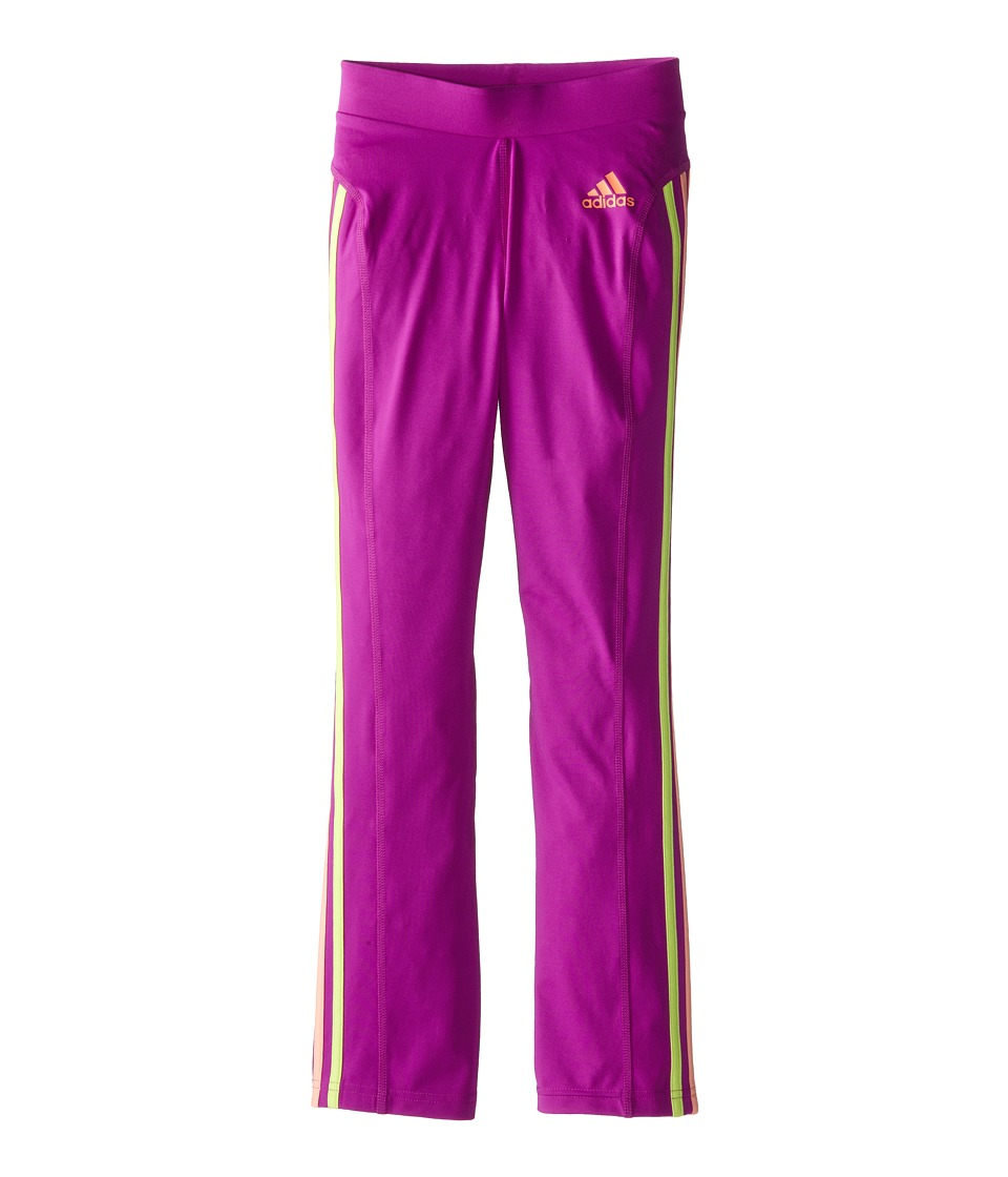 adidas Kids - Yoga Pants w/ Color Stripes (Big Kids) (Flash Pink/Flash Orange) Girl's Casual Pants