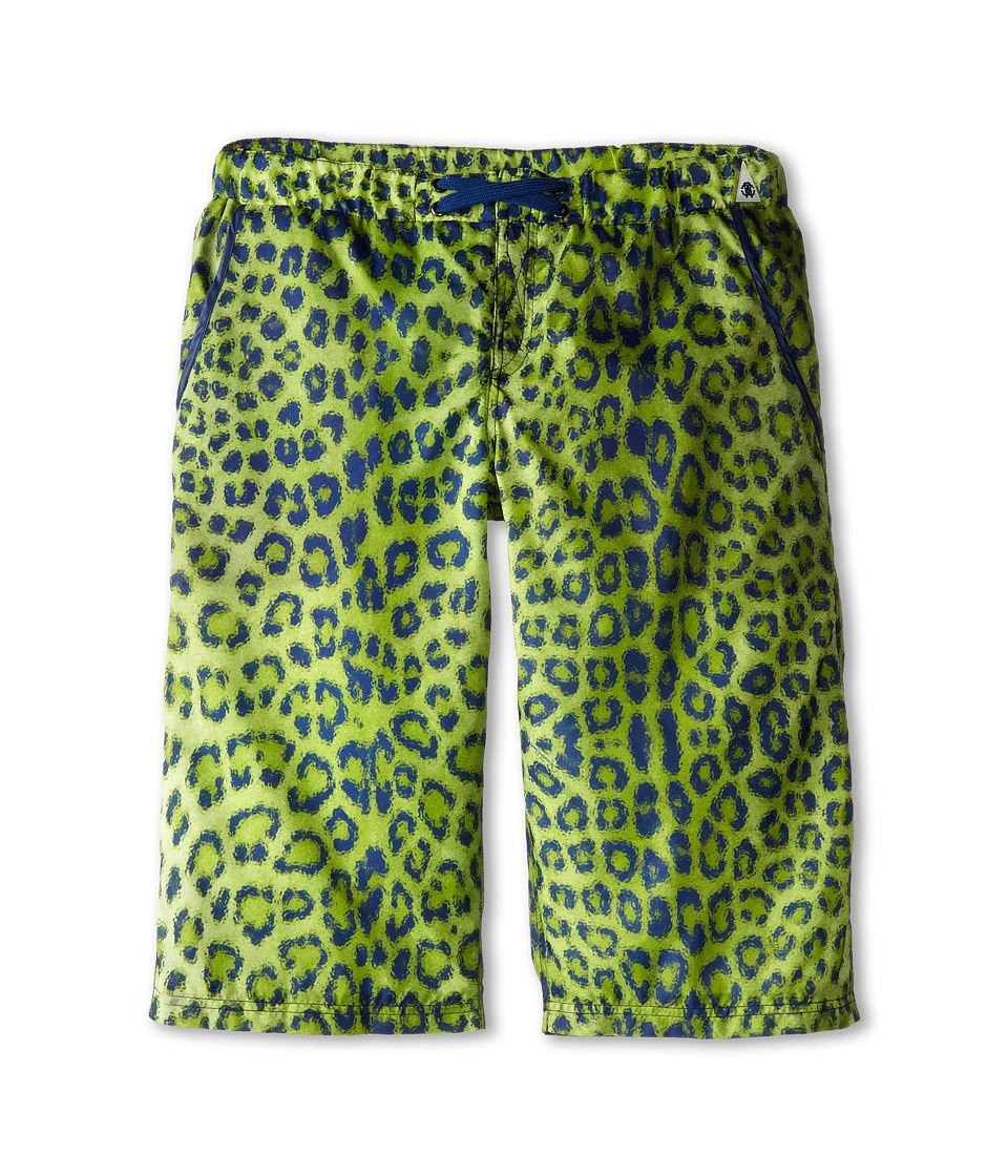 Roberto Cavalli Kids - Leopard Print Bermuda Swim Shorts (Big Kids) (Green) Boy's Swimwear