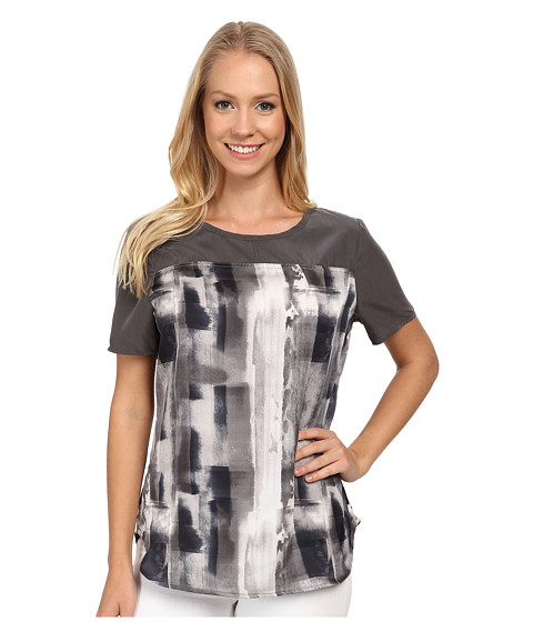Calvin Klein Jeans - Print Block T-Shirt Blouse (Storm Grey) Women's T Shirt