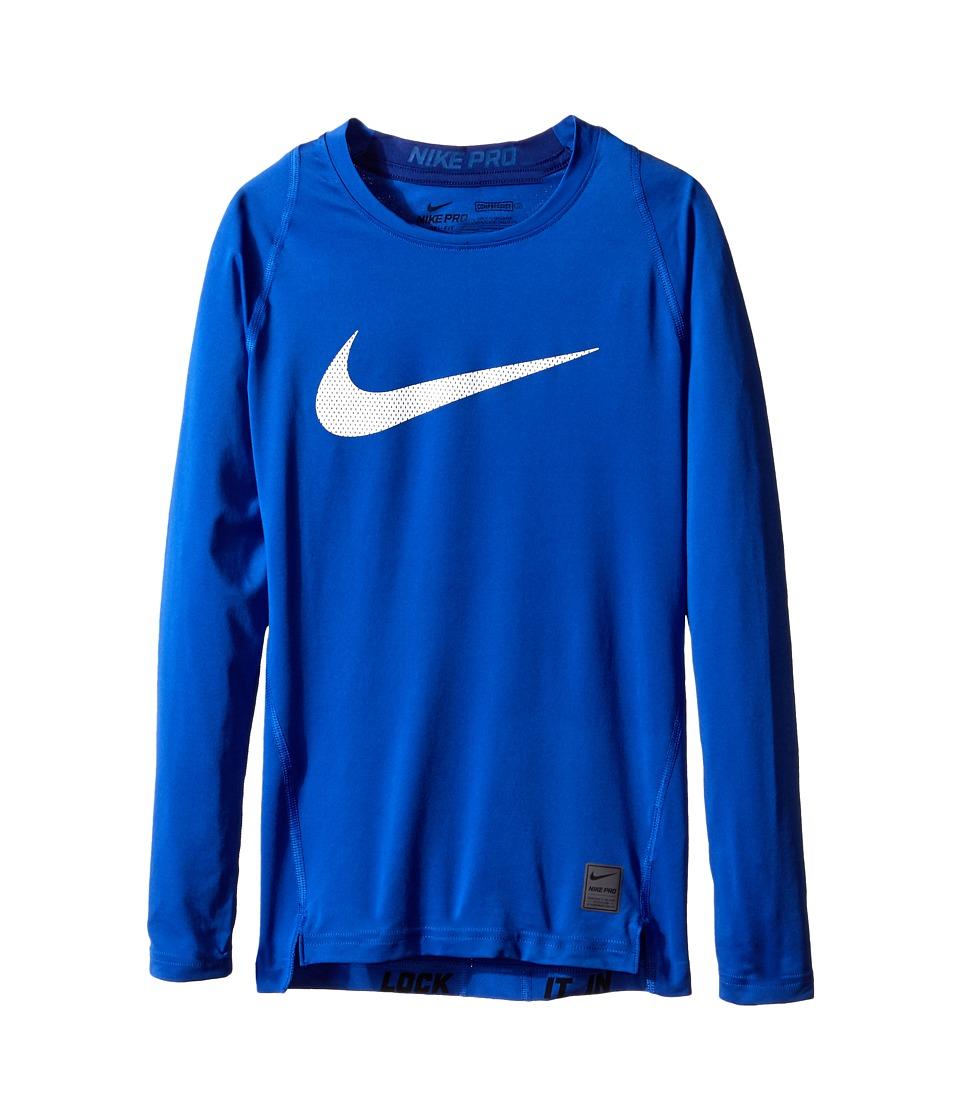 Nike Kids - Cool HBR Comp Long Sleeve (Little Kids/Big Kids) (Game Royal/Deep Royal Blue/White) Boy's Workout