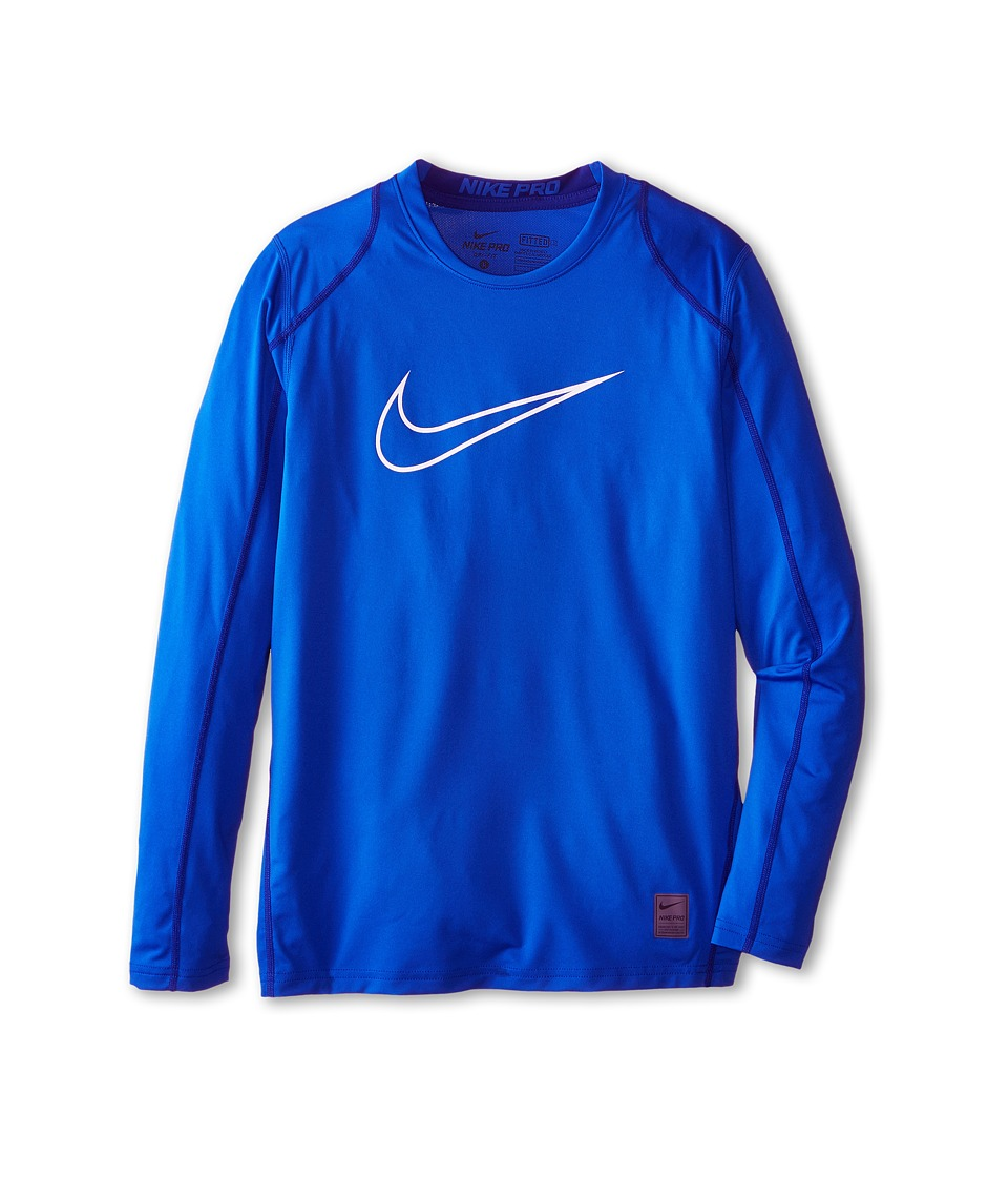 Nike Kids - Cool HBR Fitted Long Sleeve (Little Kids/Big Kids) (Game Royal/Deep Royal Blue/White) Boy's Workout