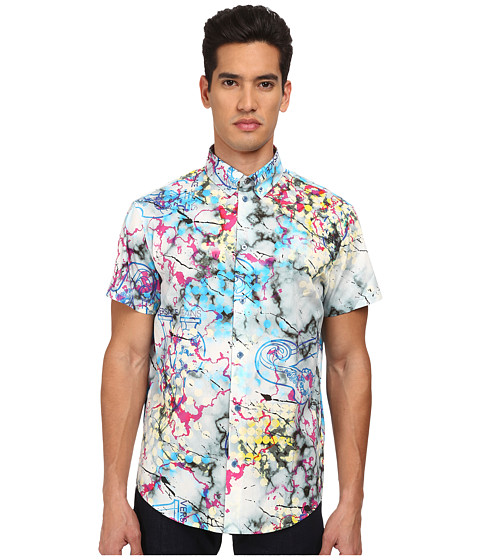 Versace Jeans - Marbled All Over Print Short Sleeve Button Up (Blue Marbled) Men