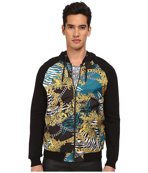 Versace Jeans - Tiger Chains Print Hoodie (Black) Men's Sweatshirt