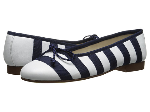 Oscar de la Renta Childrenswear - Stripe Grosgrain Sabrinas (Toddler/Little Kid/Big Kid) (Navy) Girl's Shoes