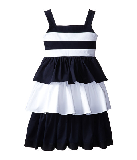 Oscar de la Renta Childrenswear - Cotton Dress with Layered Skirt (Toddler/Little Kids/Big Kids) (Optic White/Navy) Girl