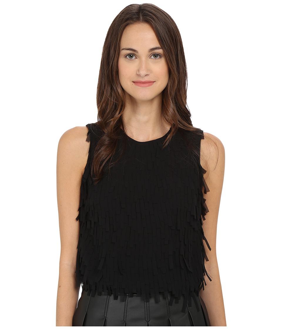 Armani Jeans - Fringe Tank Top (Black) Women's Sleeveless