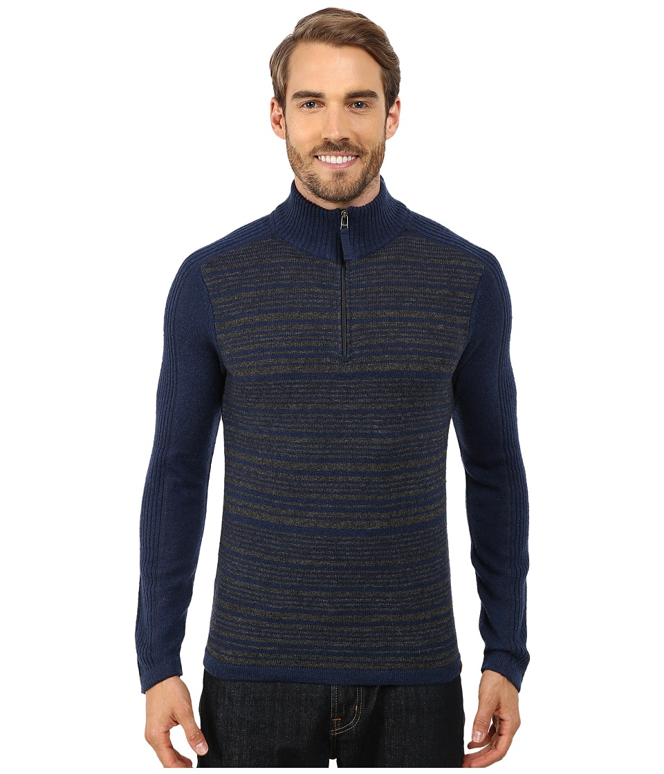 Royal Robbins - Fireside Wool Stripe 1/4 Zip (Deep Blue) Men's Long Sleeve Pullover