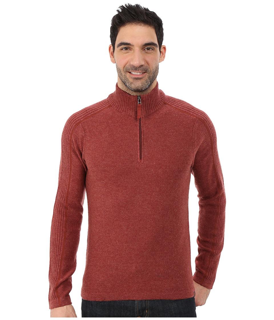 Royal Robbins Fireside Wool 1/4 Zip Sweater (Dark Ember) Men