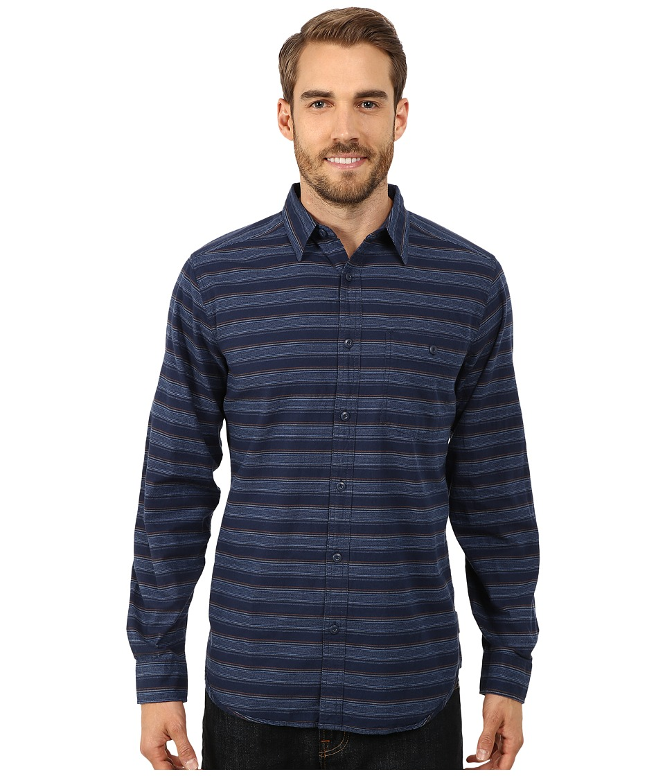 Royal Robbins - Sierra Stripe Long Sleeve Shirt (Deep Blue) Men's Long Sleeve Button Up