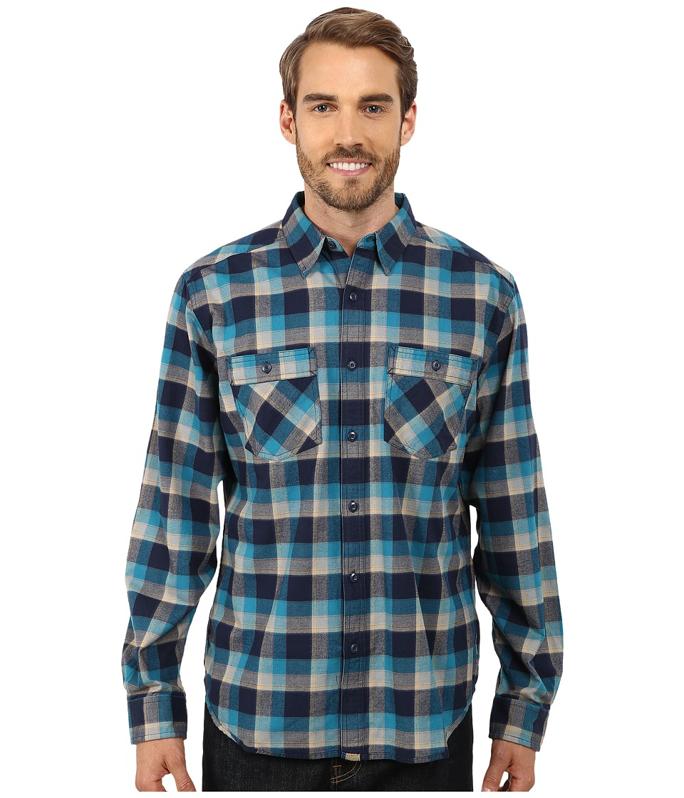 Royal Robbins Merced Plaid Long Sleeve Shirt Lunar Blue Mens Long Sleeve Button Up