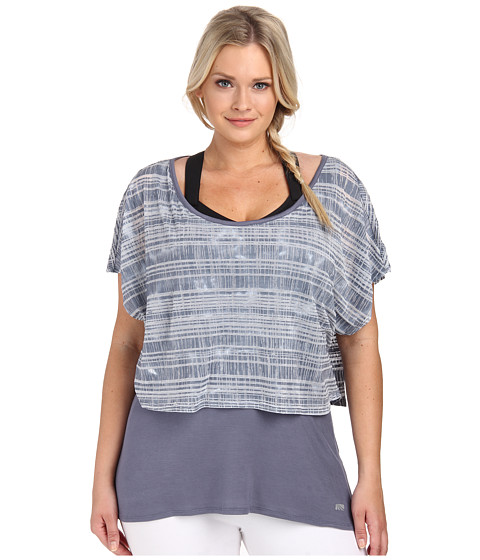 Marika Curves - Plus Size Valerie Tie Dye Layered Short Sleeve (Folkstone Gray) Women