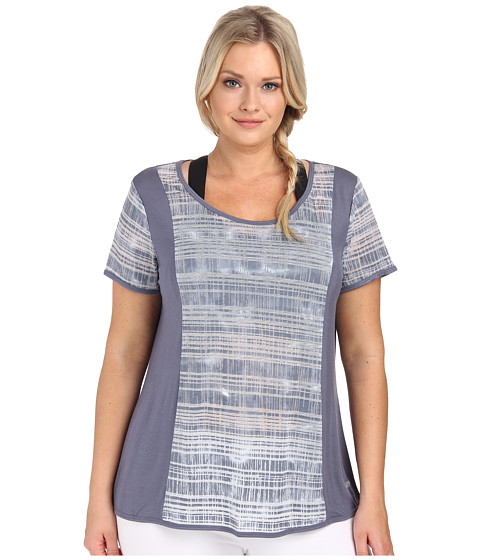Marika Curves - Plus Size Jessica Slimming Tie Dye Short Sleeve (Folkstone Gray) Women's Workout