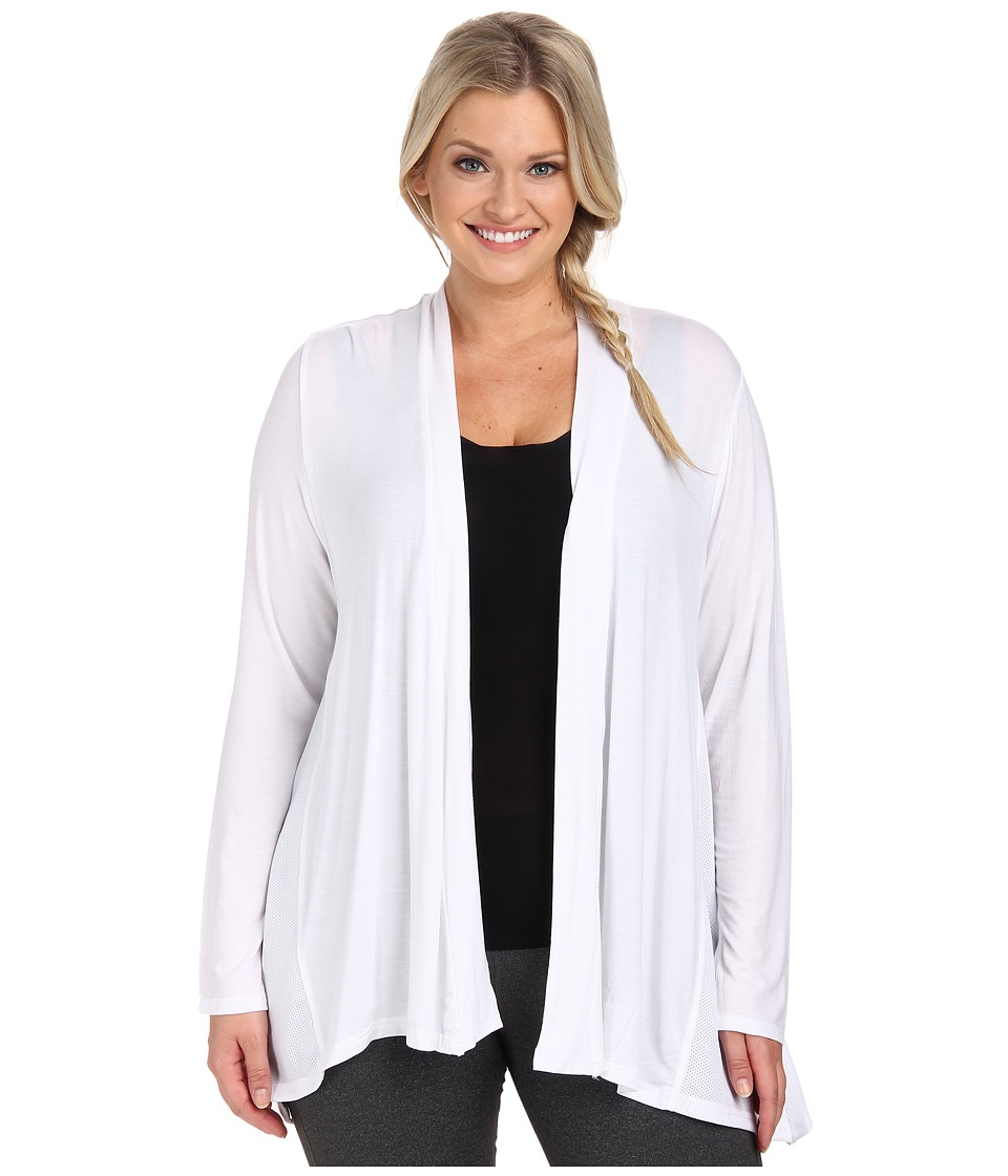 Marika Curves - Plus Size Camille Cardigan with Mesh Insets (White) Women's Workout