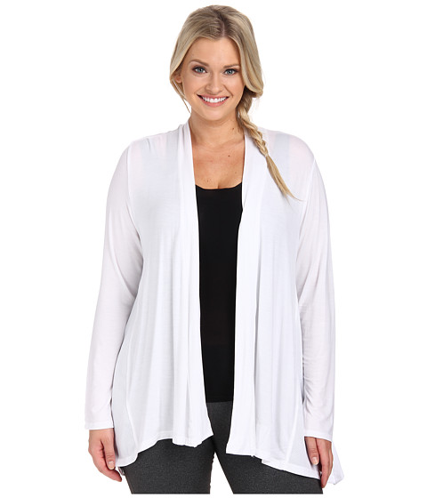 Marika Curves - Plus Size Camille Cardigan with Mesh Insets (White) Women