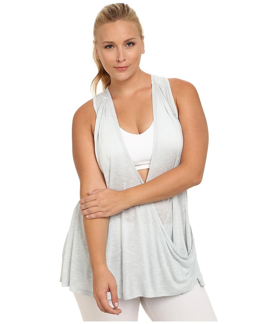 Marika Curves - Plus Size Terri Drape Racerback Tank (Heather Gray Dawn) Women's Workout plus size,  plus size fashion plus size appare