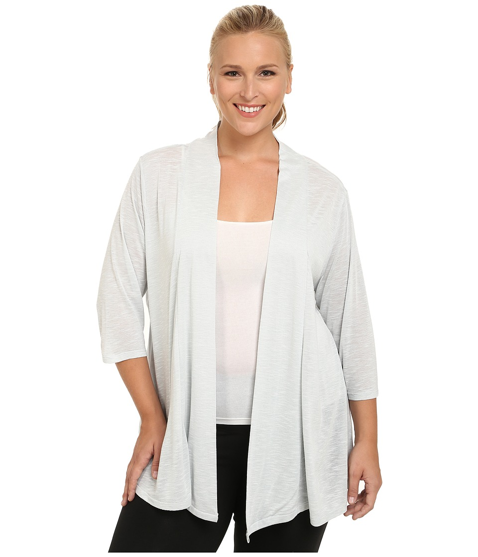 Marika Curves - Plus Size Maria Cardigan with CB Inset (Heather Gray Dawn) Women's Workout
