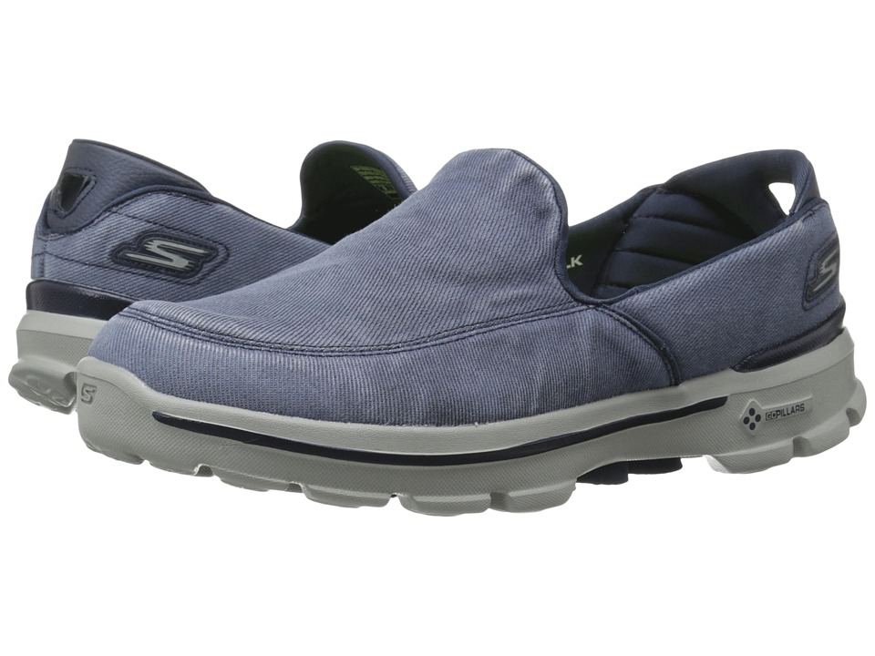 SKECHERS Performance Go Walk 3 Unwind (Navy/Gray) Men