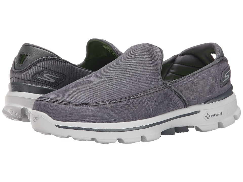 SKECHERS Performance - Go Walk 3 - Unwind (Charcoal) Men's Slip on Shoes