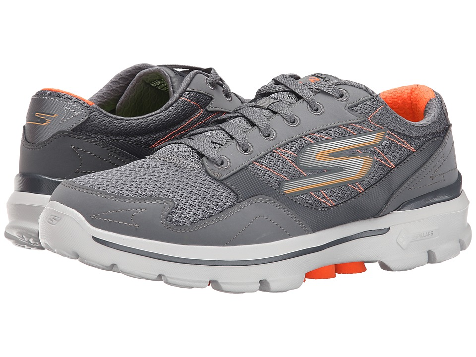 SKECHERS Performance - Go Walk 3 - Compete (Charcoal/Orange) Men's Shoes