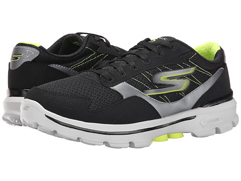 SKECHERS Performance - Go Walk 3 - Compete (Black/Lime) Men's Shoes