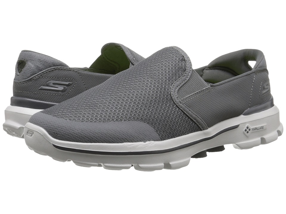 SKECHERS Performance - Go Walk 3 - Charge (Charcoal) Men's Slip on Shoes