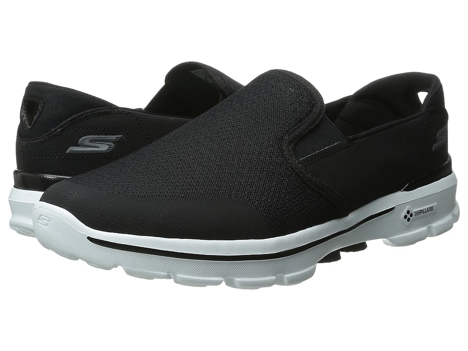 SKECHERS Performance - Go Walk 3 - Charge (Black/White) Men's Slip on Shoes