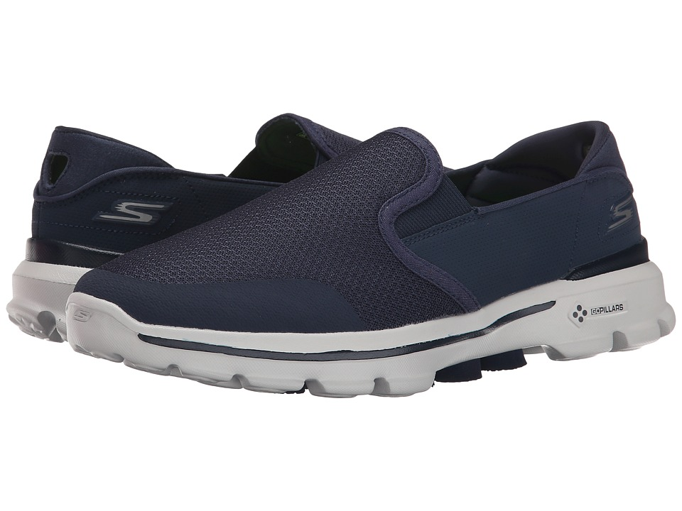 SKECHERS Performance - Go Walk 3 - Charge (Navy/Gray) Men's Slip on Shoes