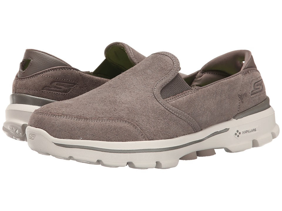 SKECHERS Performance - Go Walk 3 - Task (Taupe) Men's Slip on Shoes
