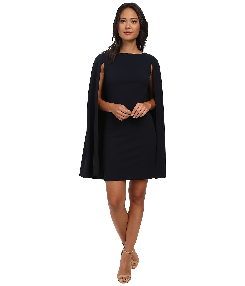Adrianna Papell - Structured Cape Sheath Dress (Navy) Women's Dress
