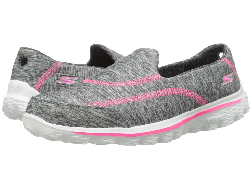 SKECHERS Performance - Go Walk 2 - 360 (Gray/Pink) Women's Slip on Shoes