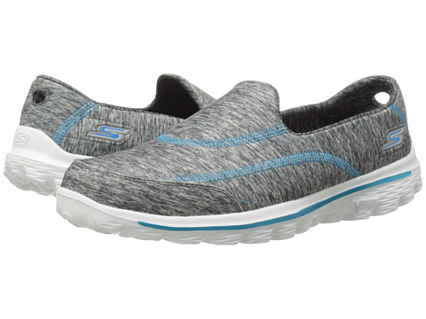 SKECHERS Performance - Go Walk 2 - 360 (Gray/Turqoise) Women's Slip on Shoes