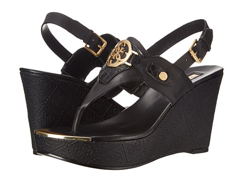 GUESS - Marcina (Black Synthetic) Women's Wedge Shoes