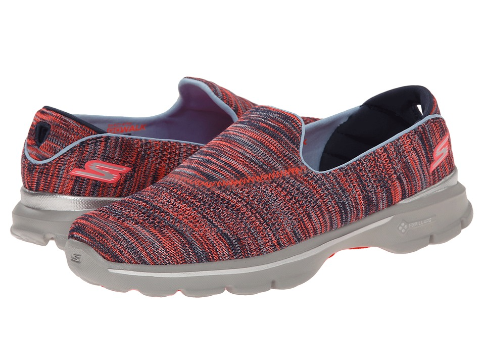 SKECHERS Performance - Go Walk 3 - Tilt (Navy/Coral) Women's Flat Shoes