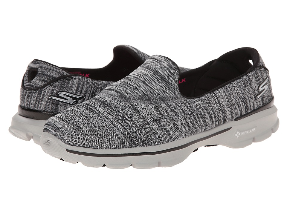 SKECHERS Performance - Go Walk 3 - Tilt (Black/Gray) Women's Flat Shoes