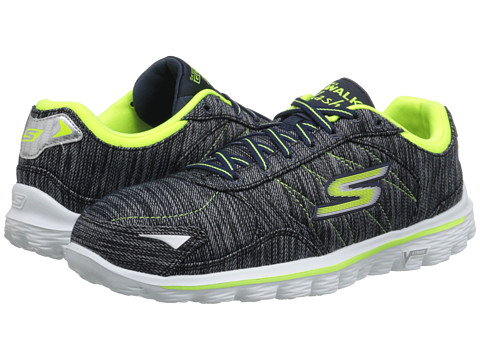 SKECHERS Performance - Go Walk 2 - Flash Linear (Navy/Lime) Women