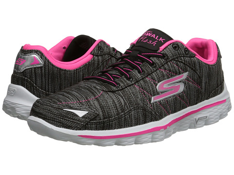 SKECHERS Performance - Go Walk 2 - Flash Linear (Black/Pink) Women's Shoes