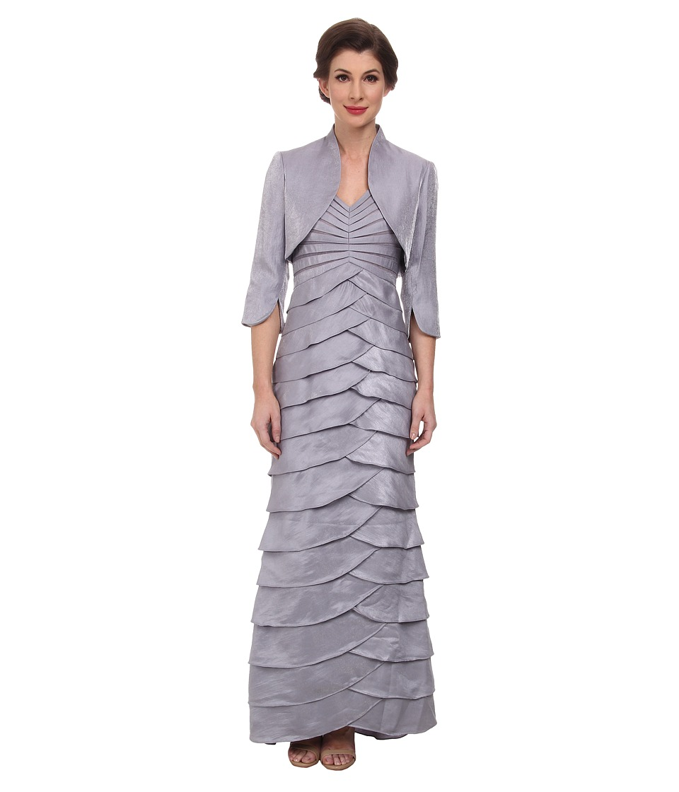 Adrianna Papell - Shutter Pleat Dress w/ Jacket (Silver/Grey) Women's Dress