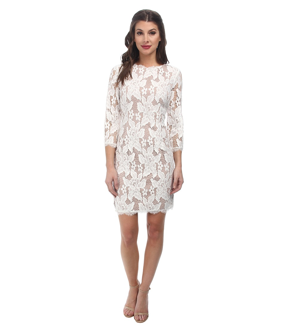 Adrianna Papell 3/4 Sleeved Cocktail Dress (Ivory/Nude) Women